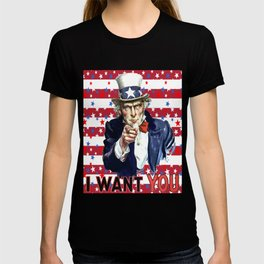 Uncle Sam I Want You With Stars and Stripes Background T-shirt