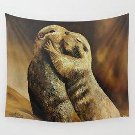 El beso de los perritos de la pradera Wall Tapestry