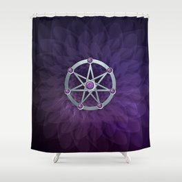 Elven star SIlver embossed with Amethyst Shower Curtain