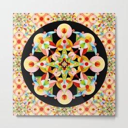 Pastel Carousel Black Circle Metal Print
