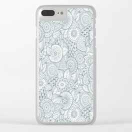 Abstract Floral Pattern Clear iPhone Case