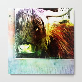 Colorful cow Metal Print