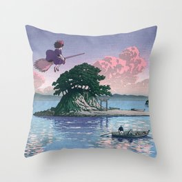 Kiki's Delivery Service and vintage japanese woodblock mashup Throw Pillow