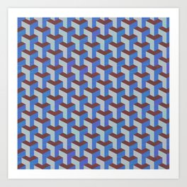 Cobalt Blue and Brown Geometric Marquetry Pattern Art Print