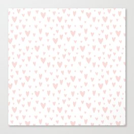 Blush pink white handdrawn watercolor romantic hearts pattern Canvas Print