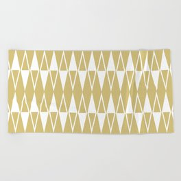 Mid Century Modern Diamond Pattern Gold 234 Beach Towel