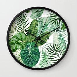 Tropical leaves 3 Wall Clock