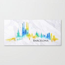 Silhouette watercolor Barcelona Canvas Print