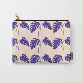 Indigo Monstera Leaf Watercolor on Blush Carry-All Pouch