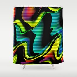 Hot abstraction with lines 4 Shower Curtain