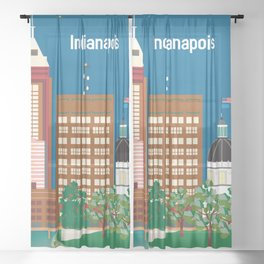 Indianapolis, Indiana - Skyline Illustration by Loose Petals Sheer Curtain