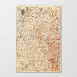 Vintage Burlington Vermont Topographic Map (1904) Canvas Print