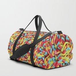 Neon Sour Gummy Worms Photo Pattern Duffle Bag
