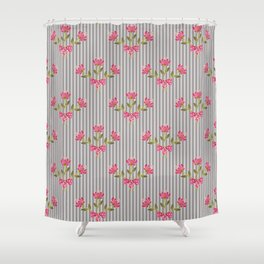 Flower bouquet on a gray striped background. Shower Curtain