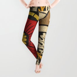 Antique Stained Glass Flower Leggings