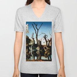Salvador Dali Swans Reflecting Elephants 1937 Artwork for Wall Art, Prints, Posters, Tshirts, Men, Women, Kids Unisex V-Neck