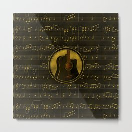 Golden  Acoustic Guitar on notes pattern Metal Print