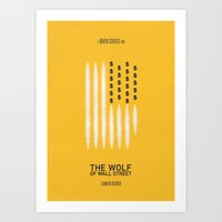 wolf of wall street Art Prints featuring The Wolf of Wall Street by Daniel Devoy