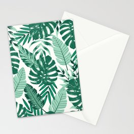 Green Monstera Leaves Stationery Cards