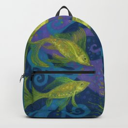 Golden Fishes, Blue &Yellow Backpack