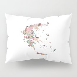 Greece map portrait Pillow Sham