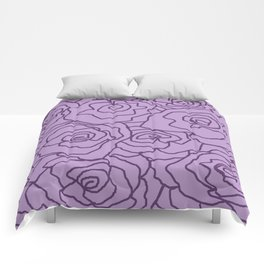 Lavender Dreams Roses - Light with Dark Outline - Color Therapy Comforters