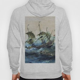 Dutch Ships In A Storm - Eugene Isabey Hoody
