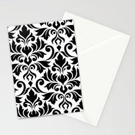 Flourish Damask Art I Black on White Stationery Cards