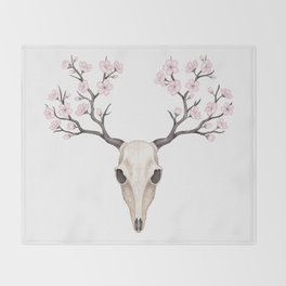 Blooming deer skull Throw Blanket