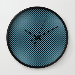 Hippie Blue and Black Polka Dots Wall Clock