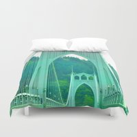 marc johns Duvet Covers featuring St. Johns Bridge Portland Oregon by Teresa Chipperfield Studios