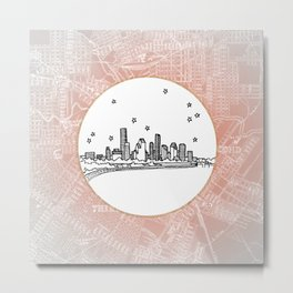 Houston, Texas City Skyline Illustration Drawing Metal Print