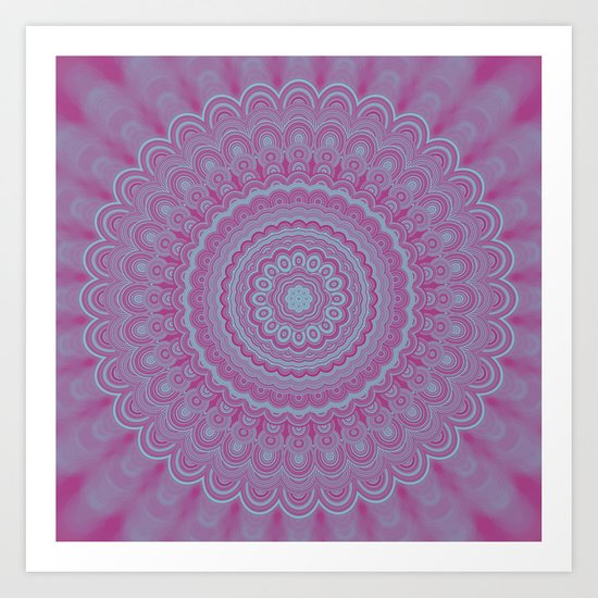 Geometric flower mandala Art Print
