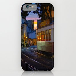 Evening and classic tram in Alfama, Lisbon | Travel photography Portugal iPhone Case
