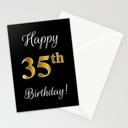 "Elegant ""Happy 35th Birthday!"" With Faux/Imitation Gold-Inspired Color Pattern Number (on Black) Stationery Cards"