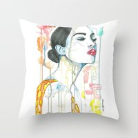 watercolour Throw Pillows featuring watercolour by Udya