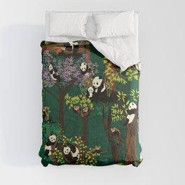Both Species of Panda - Green Comforters