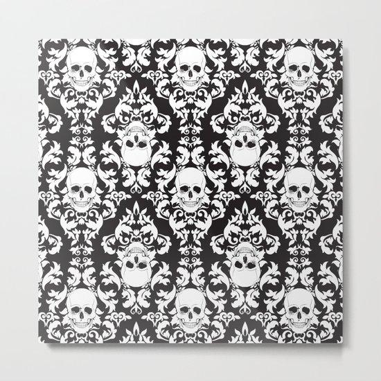 Skull Damask Metal Print