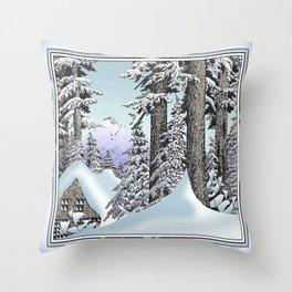 Snowed in the Douglas Fir Throw Pillow