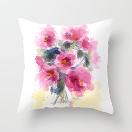 Pink Peony Bouquet Throw Pillow