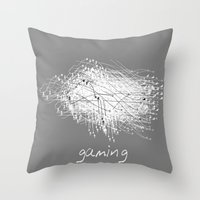 gaming Throw Pillows featuring gaming by K_REY_C