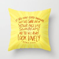 roald dahl Throw Pillows featuring Roald Dahl on Positive Thinking by Josh LaFayette