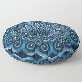 Blue Water Mandala Swirl Floor Pillow