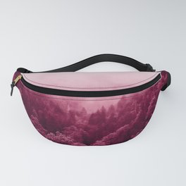 deep pink forest abstract nature landscape print smoke look Fanny Pack