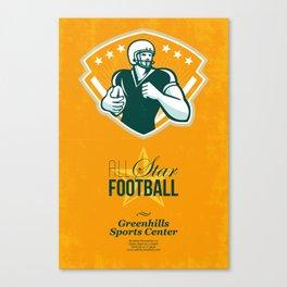 American All Star Football Retro Poster Canvas Print