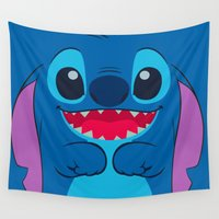 stitch Wall Tapestries featuring stitch by customgift
