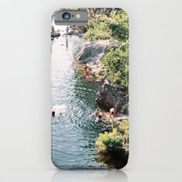 Kids Jumping into the Water | Summer Time in Corsica | French Island Vacation Photography iPhone Case