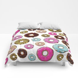 Donut Pattern, Colorful Donuts - Pink Blue Yellow Comforters