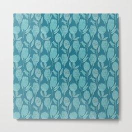 Protea on teal blue Metal Print