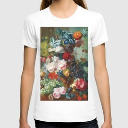 Fruit and Flowers in a Terracotta Vase by Jan van Os T-shirt